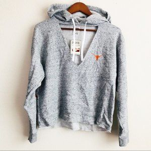 VS PINK gray UT campus hoodie with cutout detail